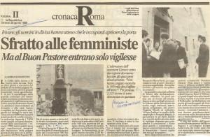 sfratto buon pastore Centro Femminista sabatini herstory  luoghi donne storia gruppi Roma