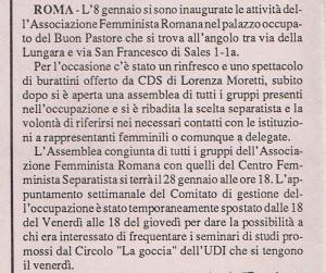 inaugurazione attività  Centro Femminista Internazionale herstory  luoghi donne storia gruppi Roma
