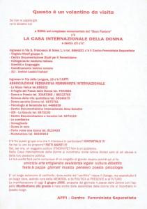 volantino manifestazione CFS  centro separatista femminista herstory  lesbiche  luoghi collettivi gruppi Roma