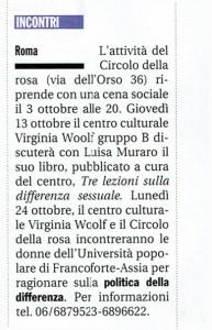 Circolo della Rosa attività noidonne herstory  femminismo luoghi donne storia gruppi Roma