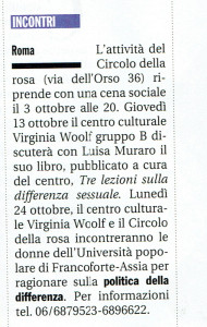 woolf gruppo B incontri herstory  femminismo luoghi donne storia gruppi Roma