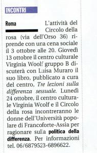 woolf gruppo B incontri herstory  femminismo luoghi donne storia gruppi Roma