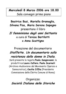 Società italiana storiche incontro herstory  femminismo luoghi donne storia gruppi Roma