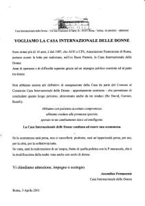 appello trattativa casa donna affi herstory  femministe lesbiche  luoghi storia collettivi gruppi Roma manifestazioni