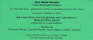 incontro zora neale hurston casa donna affi herstory  femministe luoghi storia collettivi gruppi Roma manifestazioni