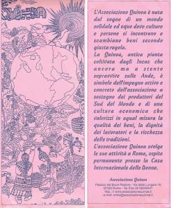 quinoa commercio equo solidale volantino casa internazionale donne herstory  femminismo luoghi storia gruppi Roma